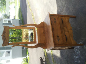 Antique Dresser with Large Mirror