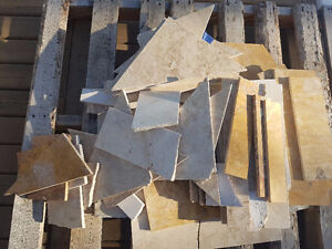 Travertine and marble pieces