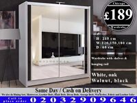 FULL MIRROR SLIDING WARDROBE DOORS HAVY QUALITY WALLNUT WHITE BLACK Billings