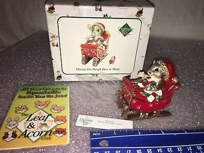 """Charming Tails """"MOUSE ON SLEIGH BOX With MINI """" DEAN GRIFF NIB CHRISTMAS"""