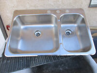 1 Used Double Stainless Steel sink $60.00 Taps $60.00