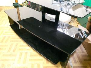 3 layer black glass TV stand