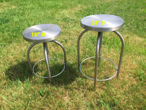 HOSPITAL STOOLS  X 2 STAINLESS STEEL