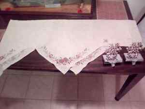 Fireplace mantle Christmas runner & stocking hangers
