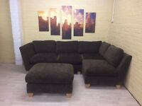Chocolate Brown Fabric Corner Sofa