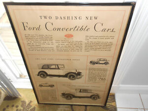 Antique Ford Convertible Advertisement Windsor Region Ontario image 1