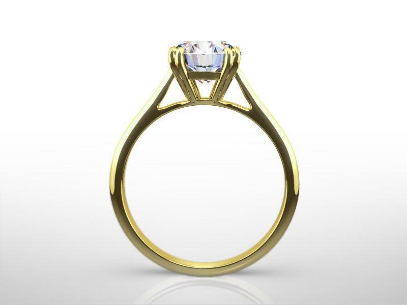 Round Brilliant Diamond Ring Colorless 1 1/2 Ct Genuine Si1 D 18k Yellow Gold