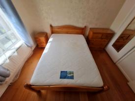 Heavy pinewood double bed frame & memory foam mattress £125