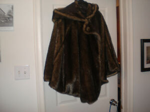 FUR CAPE WITH MATCHING HOOD Kitchener / Waterloo Kitchener Area image 1