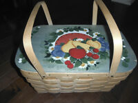 Hand painted picnic basket