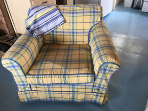 Yellow Plaid Couch and Chair- 2 Yr Old Slipcovers