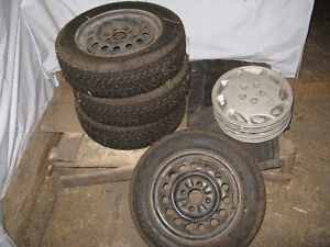 185/65R15 Winter Tires on 4x4.5 (4x114.3) Steel Rims With Covers