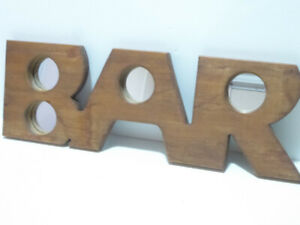 WOODEN BAR MIRROR FOR YOUR MAN CAVE, DECK, ETC.
