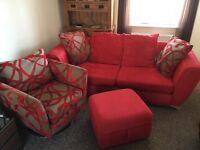 DFS 3 Seater Sofa Bed & Swivel Chair & Ottoman