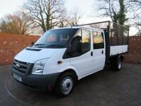 FORD TRANSIT 350 DOUBLECAB ONE STOP TIPPER WITH CAGE LWB 115 BHP 6 SEATS