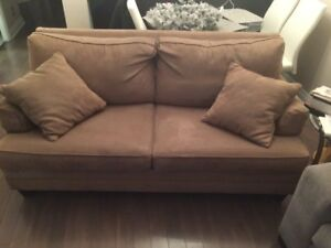 Beige Micro-Suede Pull Out Couch