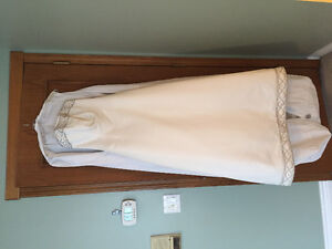 Gorgeous ivory satin gown, shawl, veil and dress bag
