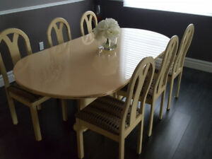 Elegant classic dining room table with chairs