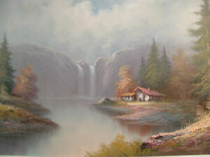 CABIN BY THE WATERFALL oil painting Peterborough Peterborough Area image 2