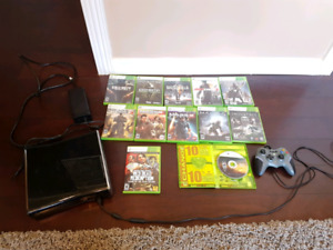 Xbox 360 slim - 250 gb - controller and 12 games