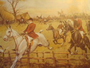 """Fox Hunt Full Cry Through The Homestead,16""""X20"""" George Wright Peterborough Peterborough Area image 2"""