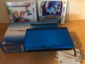 Nintendo Blue 3DS XL plus Pokemon Moon and Mario Kart 7