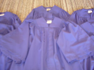 8 Royal Blue Choir/Graduation Robes + 6 Pennant Stoles Lot