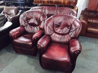Oxblood 3 11 leather sofa set