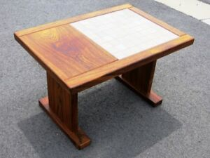 Teak End Table with Tile Inlay
