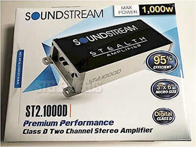 Soundstream St2 1000D 1000 Watt Compact 2 Channel Class D Car Audio Amplifier