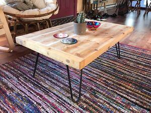 Table de salon en cèdre vintage industrielle Pinleg