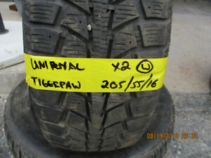 Pair of Uniroyal Tigerpaw 205/55/16 winter tires for sale
