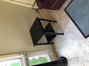 Glass side table and matching black glass tv stand