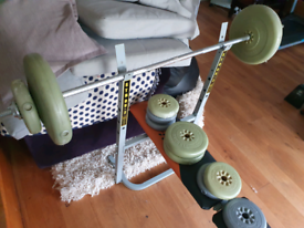 DELIVERY INCLUDED barbell weight set and bench