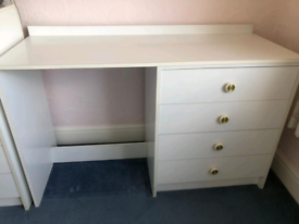 White Desk Work Space Gaming TV Stand Computer School
