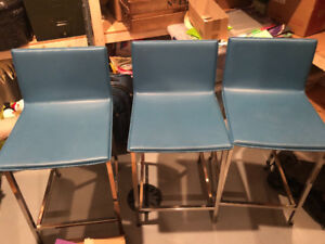 6 Blue cowhide bar height stools