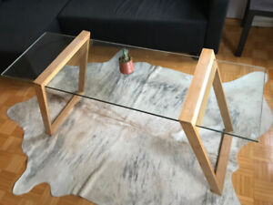 New modern wood and glass coffee table