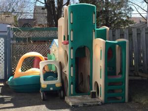 Module, piscine et maisonnette pour enfant, jouets extérieur