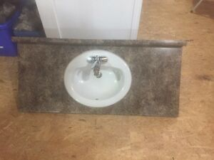 Bathroom laminate counter top sink and faucet