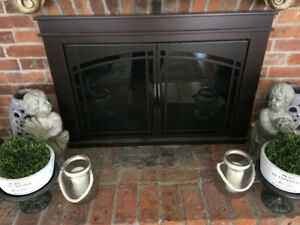 Reduced Pleasant Hearth Fenwick Large Fireplace Glass Doors