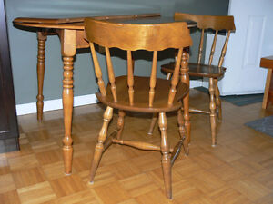 maple table and two chairs
