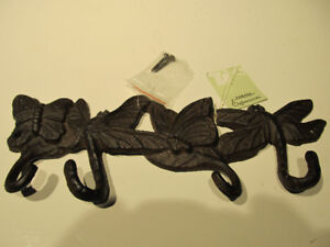 Cast iron butterfly& dragonfly themed wall hooks. Metal art.