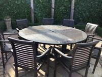 Outdoor Teak 8 seater round table and chairs
