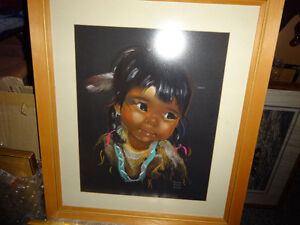 PASTEL PORTRAIT,young native girl,1960s, Vancouver Island artist