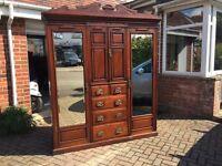 Beautiful antique solid mahogany triple 3 door wardrobe armoire