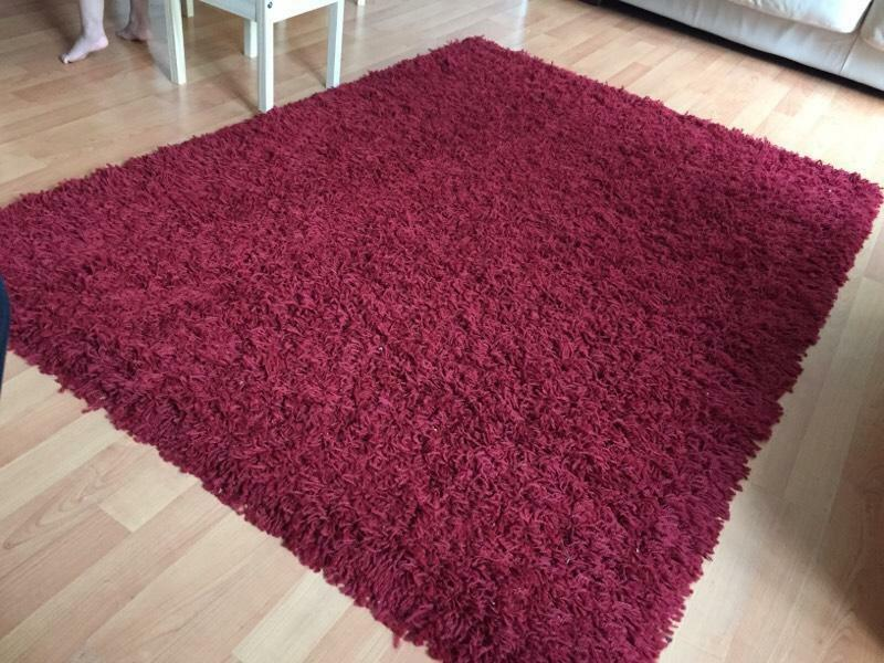 Wine Red Burgundy Shaggy Rug In Handsworth West