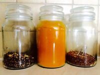 Clear, thick glass set of counter top Jars - Super useful & seal perfectly!!