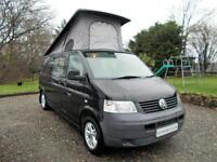 VW T5 Camper 2 Berth Elevating Roof, Six Belted Seats, Rear Kitchen, Garage