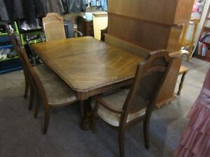 6 Chair Solid Hardwood Dining Room Table Set For Sale