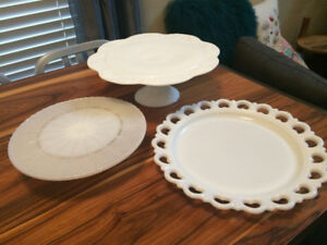Vintage Milk Glass Cake Plates